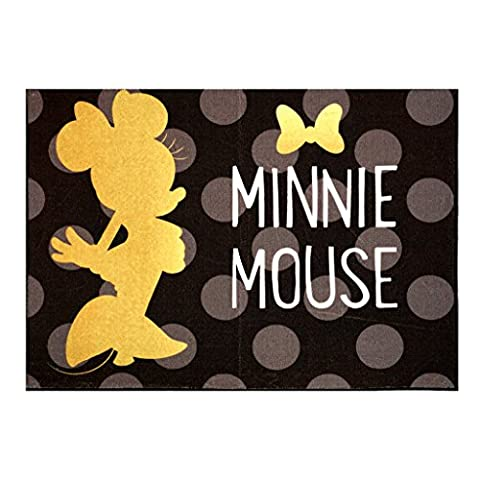 Disney Minnie Mouse Rug 2017 HD Edition Invisible solid Gold Minnie Polka Dot Girls Room Décor Wall Decals Bedding Area Throw Rugs 40x54, (Girls Black Rug)
