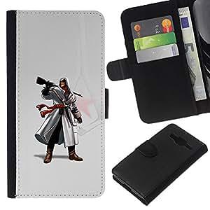 LECELL--Cuero de la tarjeta la carpeta del tirón Smartphone Slots Protección Holder For Samsung Galaxy Core Prime -- Assassin Pistola --