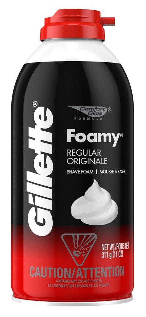 Gillette Foamy Shaving Cream, Regular - 11 oz (Pack of 3)