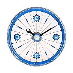 Maple's Clock 16-Inch Aluminum Bicycle Wheel Wall, Blue