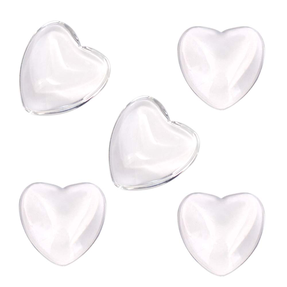 Heart Shape Clear Glass Cabochon for Photo Pendant Craft Jewelry Making 100 Pcs Heart Transparent Glass Tiles Cameo 25mm