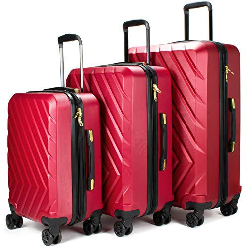601a36a0ca V19.69 Italia 3 Piece Expandable Hardside Spinner Luggage Set with TSA Lock  (Rosso