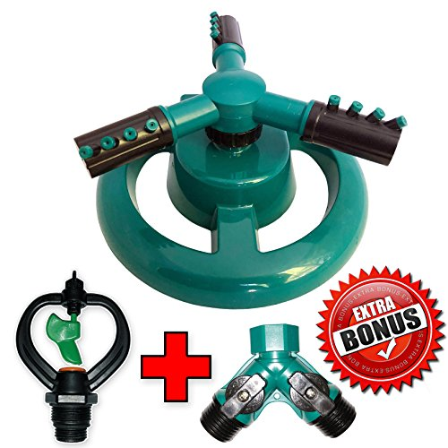 Anxy Lawn Sprinkler | Premium Quality, Garden Hose Sprinkler w/Butterfly & Adapter, Oscillating 360 Coverage, Durable ABS Plastic Sprinkler System with 2 Way Hose Splitter Connector Valve