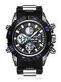 SPOTALEN Men's Sports Waterproof Watch, Military Multifunction with Digital Analog Display in Black Band