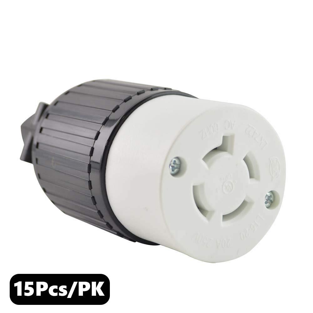 Superior Electric YGA029F Twist Lock Electrical Receptacle 4P 20A 250V - NEMA L15-20C (15 Pack)