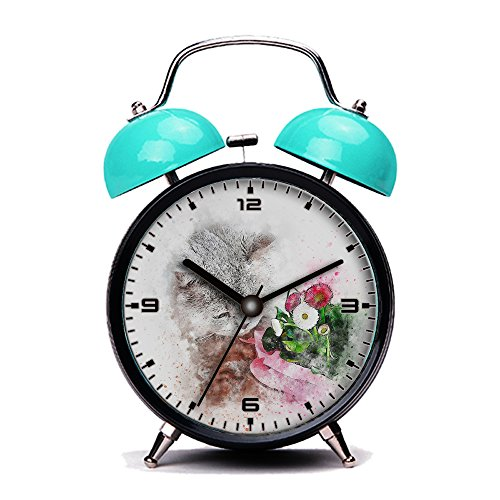 Blue Alarm Clock, Retro Portable Twin Bell Beside Alarm Clocks with Nightlight-109.Cat, Grey, Pet, Flowers, Art, Abstract, Vintage