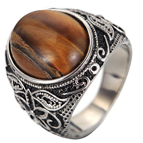 PAURO Men's Stainless Steel Classic Oval Brown Gemstone Ring with Vintage Pattern Silver Black Tone Size (Brown Pattern Ring)