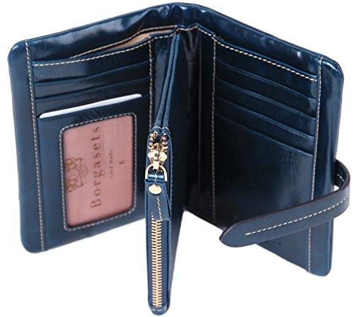 Borgasets Women's Wallet 100% Leather Zipper Coin Purse Blue