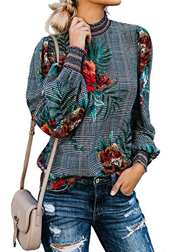 Long Sleeve Chiffon Blouse Women's Loose Cuffed Sleeve Layered Tops (XS, Plaid) ()