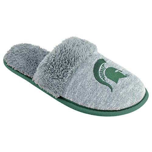 Michigan State Spartans Slippers (NCAA Michigan State Spartans Women's Scuffscuff Shoes, Gray, Small)