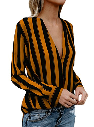 V Mode Tee Blouses Chemisiers Col Sexy Orange Longues Manches Printemps Raye Monika Shirts Femmes et Hauts Chemises Tops Automne afH4q07