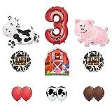 Barn Farm Animals 3rd Birthday Party Supplies Cow, Pig, Barn Balloon Decorations