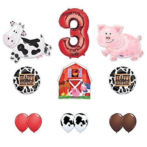 Barn Farm Animals 3rd Birthday Party Supplies Cow, Pig, Barn Balloon Decorations ()