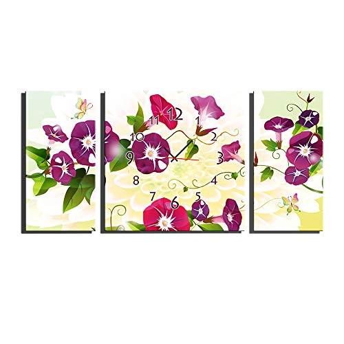 3 Panel Canvas Art Wall Clock for Home Indoor Decor Frameless Painting Flower Print On Canvas The Pictures,Ready to Hang(Size:40×80CM×2+80×80CM×1) by HSRG (Image #3)