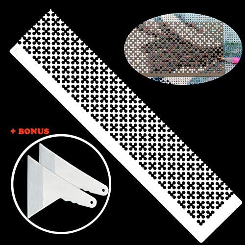 Whaline 2 Pieces Square /& Round Diamond Painting Tool Ruler with 2 Diamond Painting Fix Tools Stainless Steel DIY Drawing Ruler with 599 Blank Grids and 520 Blank Grids for Full Drill /& Partial Drill