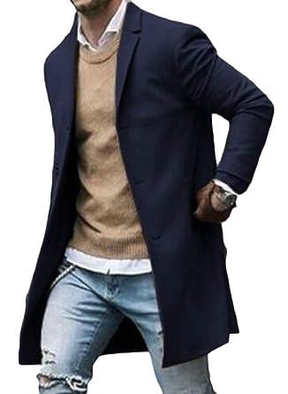 78dcd8025d03 XQS Men Classic Peacoat Wool Blend Slim Single Breasted Trench Coat  Overcoat 1 XS