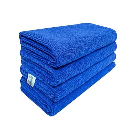SOFTSPUN Microfiber Cloth - 4 pcs - 40x40 cms - 340 GSM Blue - Thick Lint & Streak-Free Multipurpose Cloths - Automotive