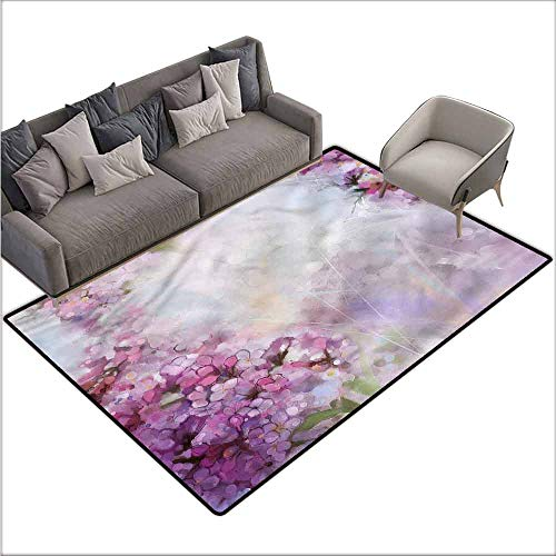 - Dining Table Rugs Flower,Watercolor Style Leaf Bloom 80