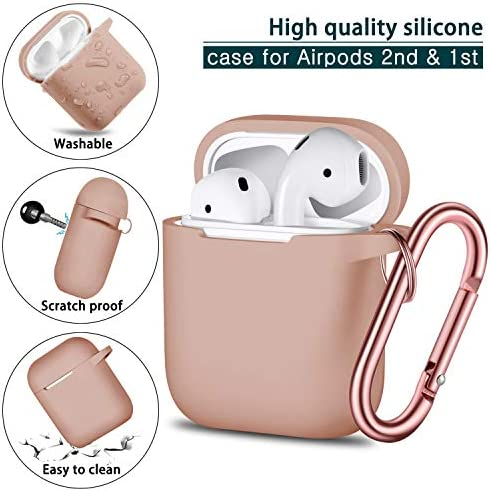 Airpods Case Cover, Full Protective Airpods Case Cover Silicone Airpods Case Keychain for Girls and Women, Soft Chargeable Headphone Case with Rose Gold Carabiner for AirPods 2 and 1, Milk Tea 51 2BLuzQT 2BQL