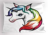 Ambesonne Rainbow Pillow Sham by, Cute White Unicorn with Rainbow Colors on its Mane Blue Eyes Animal Fun Print, Decorative Standard King Size Printed Pillowcase, 36 X 20 Inches, White Multicolor