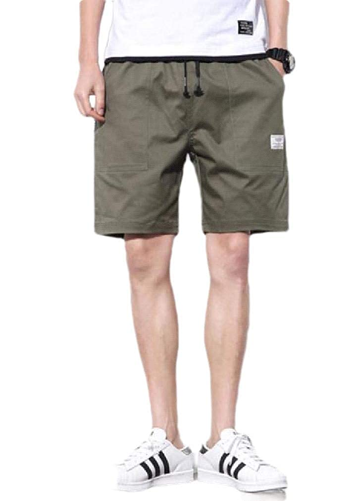 Fieer Mens Solid Drawstring Pocketed Camo Swim Trunks Board Shorts
