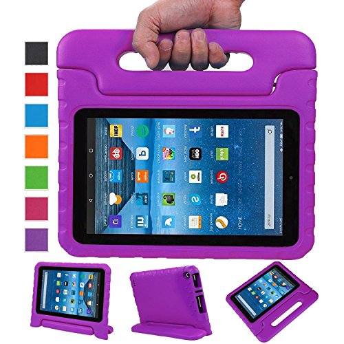 Fire 7 Case,Fire 7 2015 Case,SNOW WI®-Kids Shock Proof Convertible Handle Stand Light Weight Super Protective Stand Cover for Amazon Fire Tablet (7 inch Display, 2015 Release Only) (Purple)