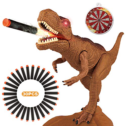 (Betheaces Dinosaur Toys Foam Dart Gun Toy Dragon Novel Realistic Tyrannosaurus Rex Model for Kids Boys Girls with Shooting Roaring Light Up Eyes for Birthday Gifts)