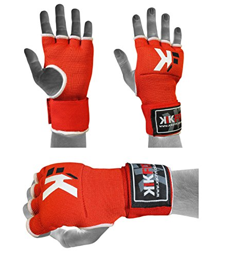 KIKFIT Gel Red Boxing Inner Gloves Hand Wrap, Grappling gloves, Punch Bag Protective S/M