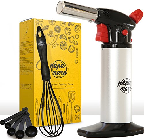 Cooking Torch Set For Creme Brulee By Pepe Nero: Culinary Torch - Kitchen Torch - Refillable Aluminum Blow Professional Butane Adjustable for Baking BBQ Chef - Gifts: Whisk & Measuring Spoons & Ebooks (Gray Whisk)