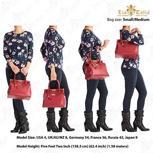 Top Genuine Shoulder with Strap Leather Womens Bag Deep Satchel Handle Navy Italian Matt LIATALIA LAURA Doctors UYqgHgx