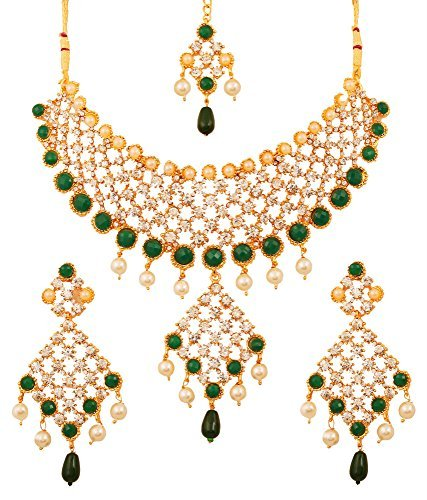 9492169564a0a Touchstone Gold Tone Indian Bollywood Green Faux Emeralds/Pearls Bridal  Jewelry Necklace Set for Women