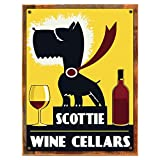 Cheap Wood-Framed Scottie Wine Celler Metal Sign, Bar Décor, Pub Décor on reclaimed, rustic wood