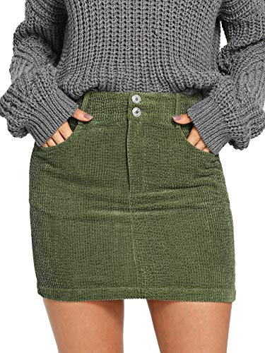 (WDIRARA Women's Mid Waist Button Front Above Knee Bodycon Corduroy Short Skirt Army Green L )