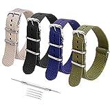 (US) Ritche 16mm Nato Watch Straps Black Nylon Replacement Seiko Casio