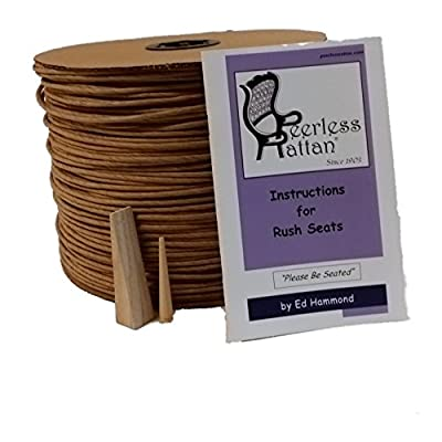 Complete Kit, 10 Pound Reel of Brown Fibre Rush Size 6/32, Full Color Instruction Booklet, Peg & Wedge, Enough Fiber Rush for 4 Seats (6/32)