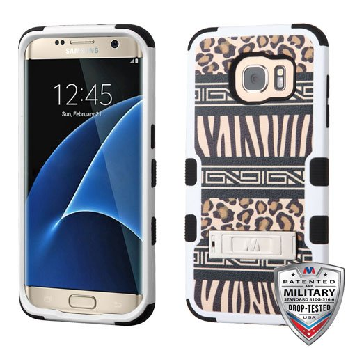 Leopard Skin Phone Protector Case - MyBat Cell Phone Case for Samsung G935 (Galaxy S7 Edge) - Retail Packaging - Zebra Skin-Leopard Skin/Black