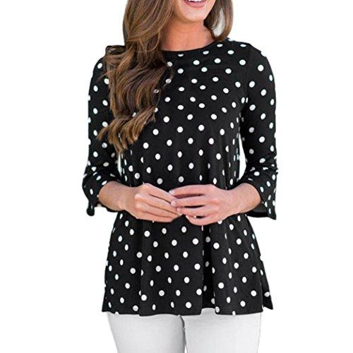 Fashion Womens Tops Three Quarter Sleeve T-Shirt Dot Print Blouse (Dot Georgette Blouse)
