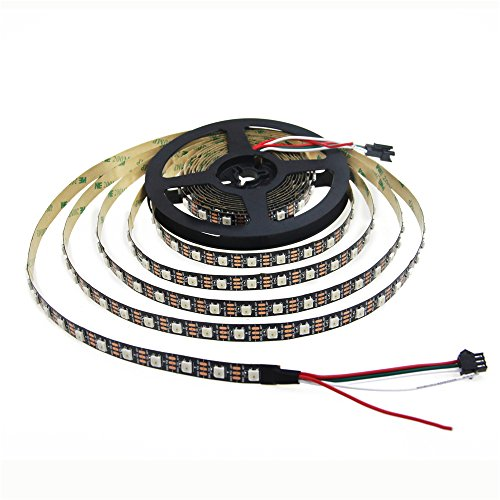 Aclorol WS2812B Individually Addressable RGB LED Strip 5M 60 Pixels/M 5V Programmable 16.4ft 300 Pixels WS2812B WS2812 Strip Lighting Black PCB Non-waterproof Work With Arduino, Raspberry Pi