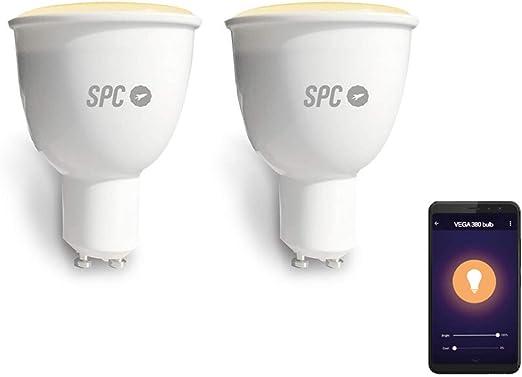 SPC Pack Bombillas Inteligentes Vega 380 (2 Unidades), LED Wi-Fi GU10, 2700-6500K, Blanco (2700-6500 k) - Smart Home compatible con Amazon Alexa: Amazon.es: Iluminación