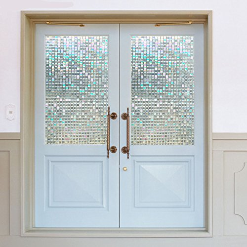 Window Film Non-Adhesive Self Privacy Static Cling Privacy Decorative Stained Glass Heat Control Anti UV for Living Room,Home,Bathroom,Office(17.7''x78.7'')