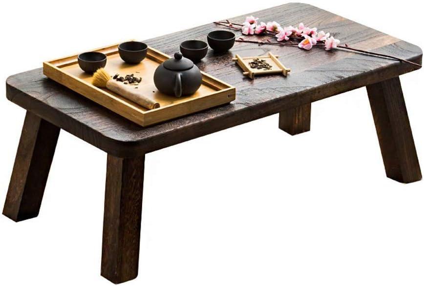 コーヒーテーブル無垢材テーブルシンプルなコンピューターテーブルデザートテーブルテーブル畳ローテーブルデスク和風テーブル(色:黒、サイズ:60 * 30 * 20cm)