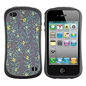 "Hypernova Slim Fit Dual Barniz Protector Caso Case Funda Para Apple iPhone 4 / iPhone 4S [Yellow Wallpaper trullo Gris Verde""]"