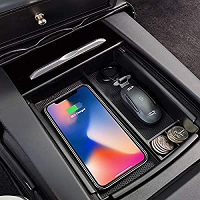 LMZX Model S Model X Wireless Charger Center Console Armrest Storage Box Holder Container Glove Pallet Tray for Tesla Model S Model X 2016 2017 2018 2019 (Armrest Box with Qi Wireless Charging)