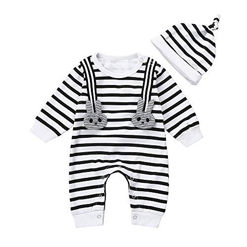 Sweet Haute Baby (YJM Baby Rompers Boys Girls Schlafanzug Baumwolle Jumpsuit Outfits Bodysuit Strip Häschen drucken(90))