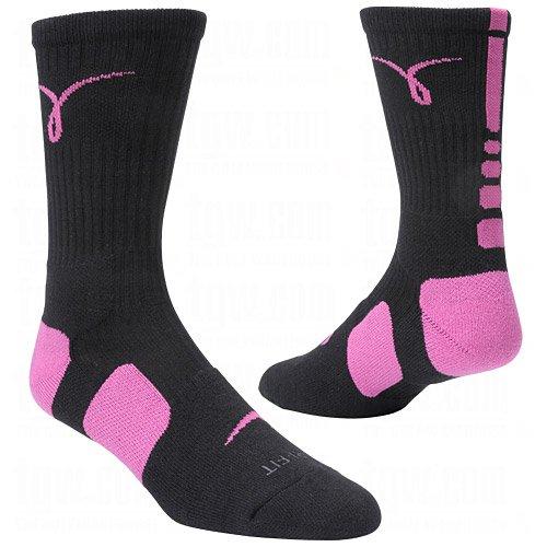 Nike Kay Yow Elite Crew Basketball Socks Black/Pink Size Socks Large 8-12