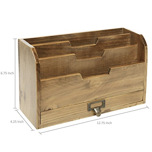 MyGift 3 Tier Country Rustic Brown Wood Office Desk File Organizer Mail Sorter Tray Holder w/Storage Drawer by MyGift (Image #3)
