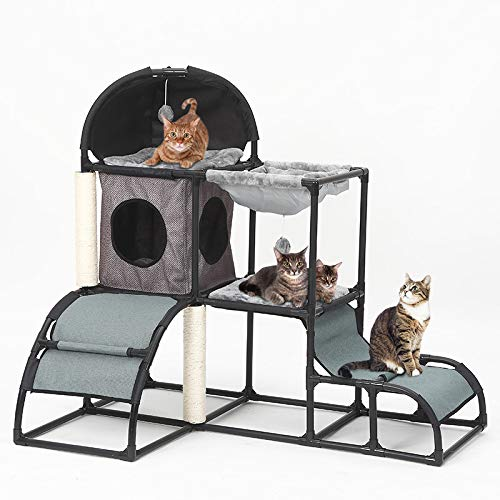 - Yunhoo Luxury Multi-Level Cat Tree Cat Tower with cat Scratching Post,Cat Bed, Cat Climber, Peek Holes & Dangling Toy for Kittens, Cats and Pets