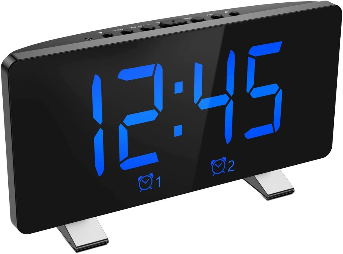 Brifit Digital Alarm Clock, 7.3 Curved LED Screen, Snooze Adjustable 6 Brightness Volume Dimmable, Simple Digital Clock for Kids and Adults, 12 24H