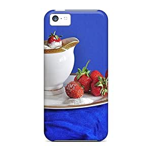 For LauraGroff-Y Iphone Protective Case, High Quality For Iphone 5c Strawberries With Cream Skin Case Cover