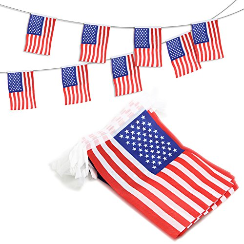 Anley USA American String Pennant Banners, Patriotic Events 4th of July Independence Day Decoration Sports Bars - 33 Feet 38 Flags -